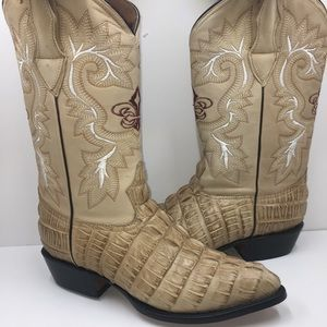 Men's crocodile printed leather cowboy boots